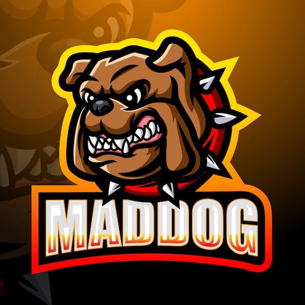 Mad dog maskottchen esport illustration Premium Vektoren