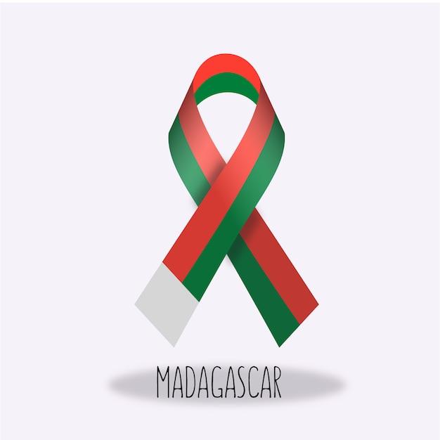 Madagaskar-flaggenbandentwurf Kostenlosen Vektoren