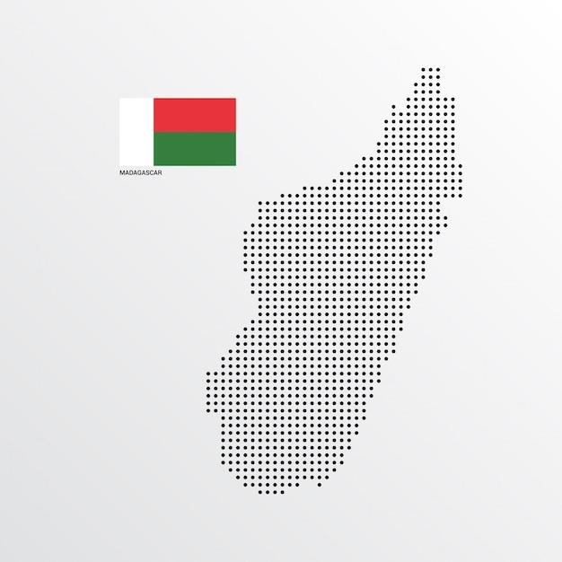 Madagaskar-kartenentwurf mit flaggen- und hellem hintergrundvektor Kostenlosen Vektoren