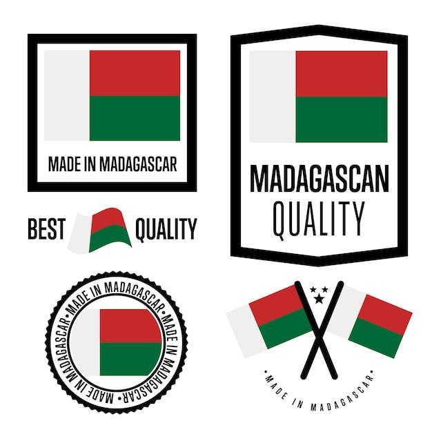 Madagaskar-qualitätszeichensatz Premium Vektoren