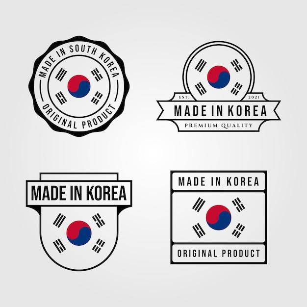 Made in korea logo-set Premium Vektoren