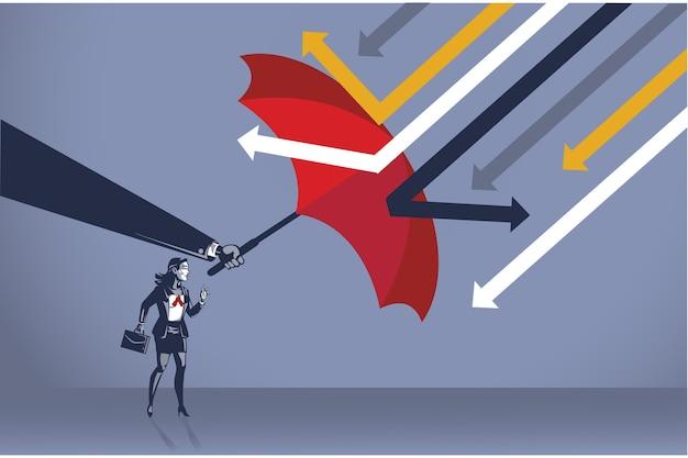 Mächtige hand schützen geschäftsfrau vor angreifendem pfeil mit konzeptioneller illustration des blauen regenschirmkragens Premium Vektoren