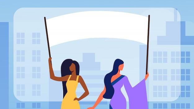 Mädchen-charaktere, die leere abstimmungs-fahnen, aufstand halten Premium Vektoren