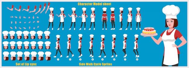 Mädchen-chef character-modellblatt mit laufzyklusanimationen und lippensynchronisation Premium Vektoren
