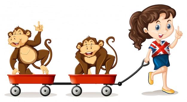 Mädchen, das affen auf den wagen zieht Kostenlosen Vektoren