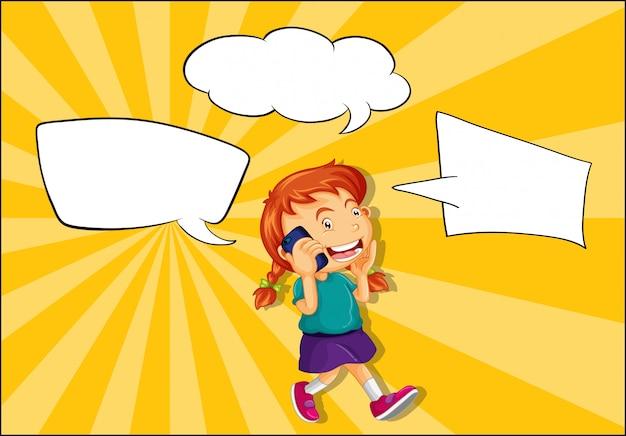 Mädchen, das am telefon mit spracheballon spricht Kostenlosen Vektoren