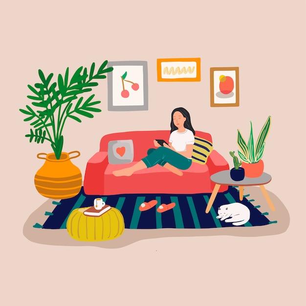 Mädchen, das auf einem sofa mit tablet-computer sitzt und ruht. junge frauen verbringen zeit online. gemütliches interieur im skandinavischen stil mit zimmerpflanzen und katze. bunte illustration im flachen karikaturstil Premium Vektoren