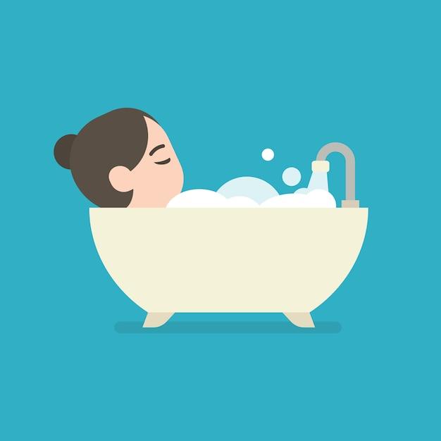 Mädchen, das ein bad in einer badewanne, netter charakter, vektorillustration nimmt. Premium Vektoren