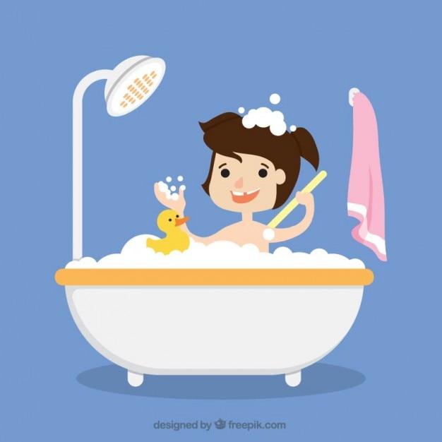 Mädchen, das ein bad mit ihrem spielzeug Kostenlosen Vektoren