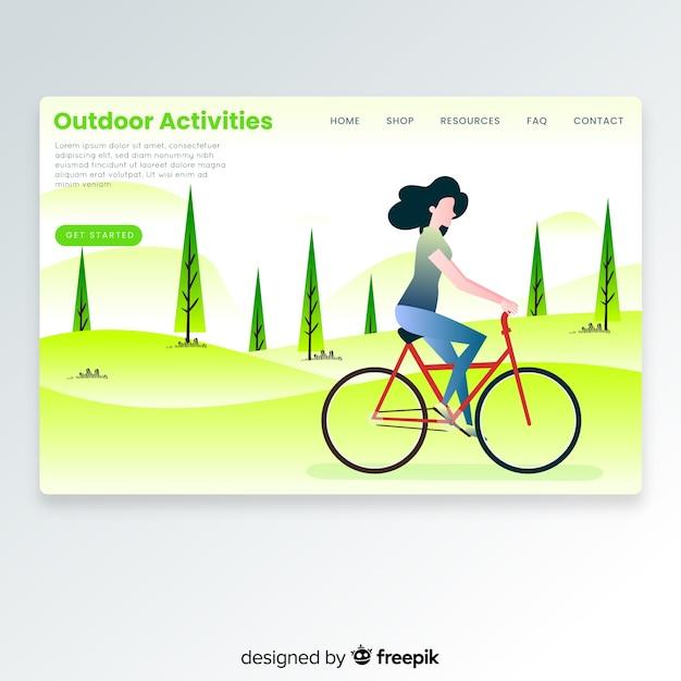 Mädchen, das eine fahrradlandungsseite reitet Kostenlosen Vektoren