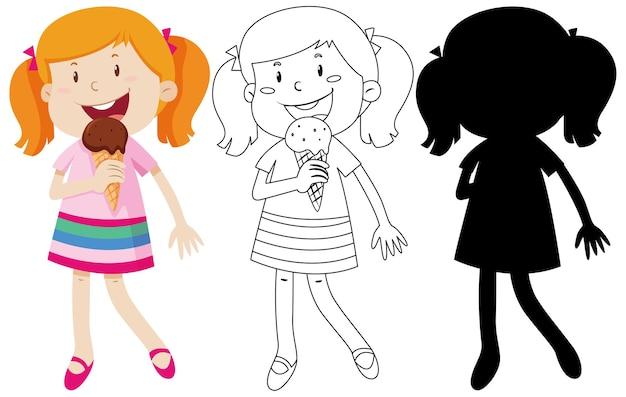 Mädchen, das eis in farbe und schattenbild und umriss isst Kostenlosen Vektoren