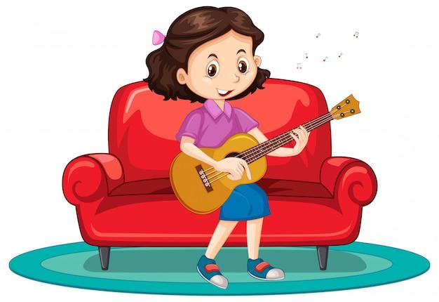 Mädchen, das gitarre auf sofa spielt Kostenlosen Vektoren