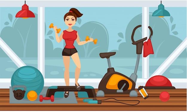 Mädchen, das körperliche übungen mit dummköpfen in der turnhalle tut Premium Vektoren