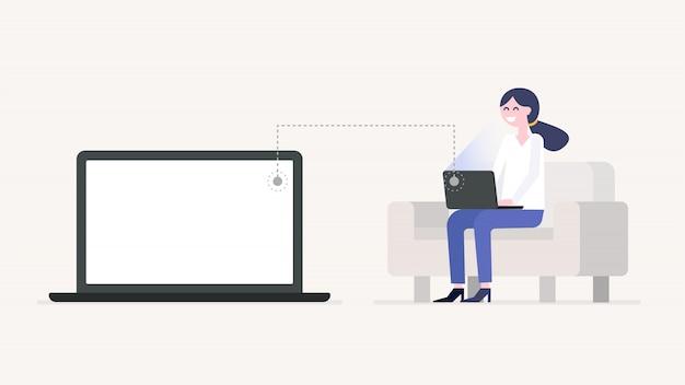 Mädchen, das mit dem laptop, sitzend auf der couch, laptopbildschirm arbeitet oder studiert. Premium Vektoren
