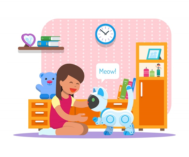 Mädchen, das mit hauptkatzenroboter spielt. robotertechnologie-konzeptillustration Premium Vektoren