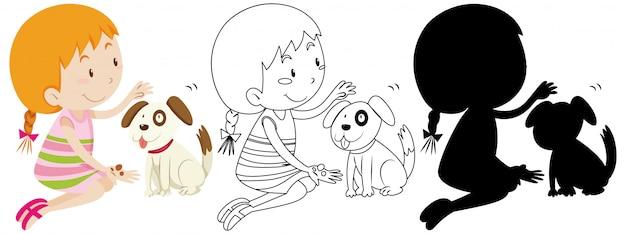 Mädchen, das mit niedlicher hundefarbe und umriss und silhouette spielt Kostenlosen Vektoren