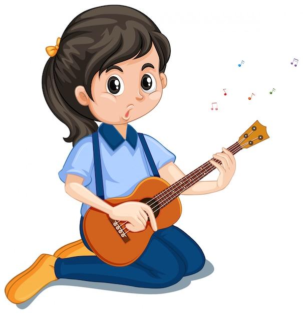 Mädchen, das ukulele auf weiß spielt Kostenlosen Vektoren