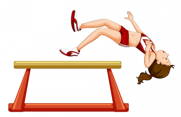 Mädchen, das vom gymnastischen lichtstrahl abfällt Kostenlosen Vektoren