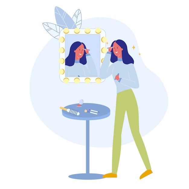 Mädchen, das wimperntuschen-bürsten-flache vektor-illustration verwendet Premium Vektoren