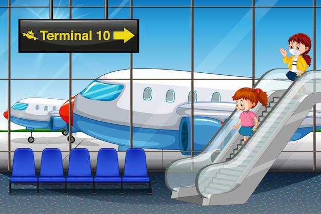 Mädchen, die am flughafen ankommen Kostenlosen Vektoren