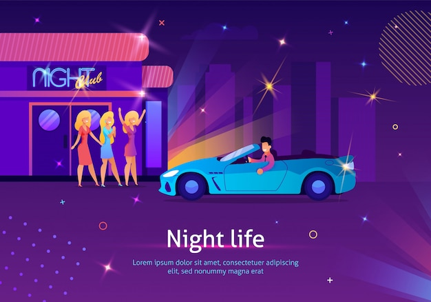 Mädchen, die auf mann im auto nahe nachtclub warten. Premium Vektoren