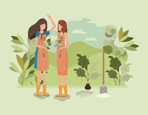 Mädchen, die bäume im park pflanzen Premium Vektoren