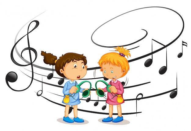 Mädchen, die musik hören Premium Vektoren