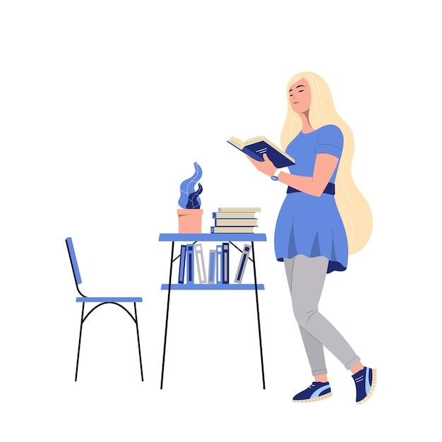Mädchen, ein buch zu lesen Premium Vektoren
