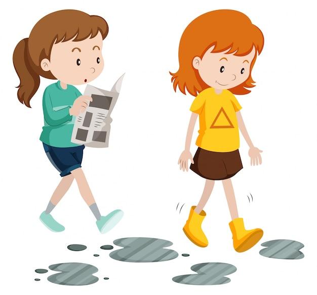 Mädchen gehen mit sorglosen und sorgfältigen schritte illustration Kostenlosen Vektoren