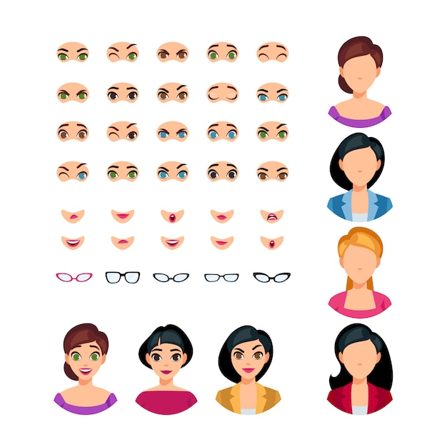 Mädchen-gesichts-gefühls-erbauer Kostenlosen Vektoren