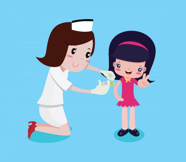 Mädchen glücklich, während die krankenschwestern spritzen Premium Vektoren