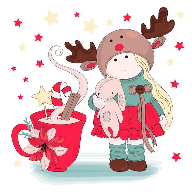 Mädchen-gratulation frohe weihnachten-vektor-illustrations-satz Premium Vektoren