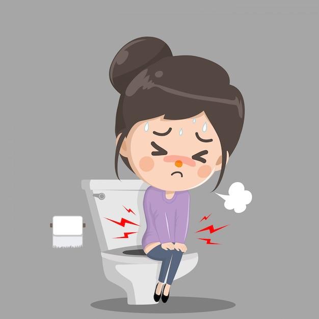 Mädchen hat bauchschmerzen und muss kacken. sie sitzt und spült die toilette richtig. Premium Vektoren