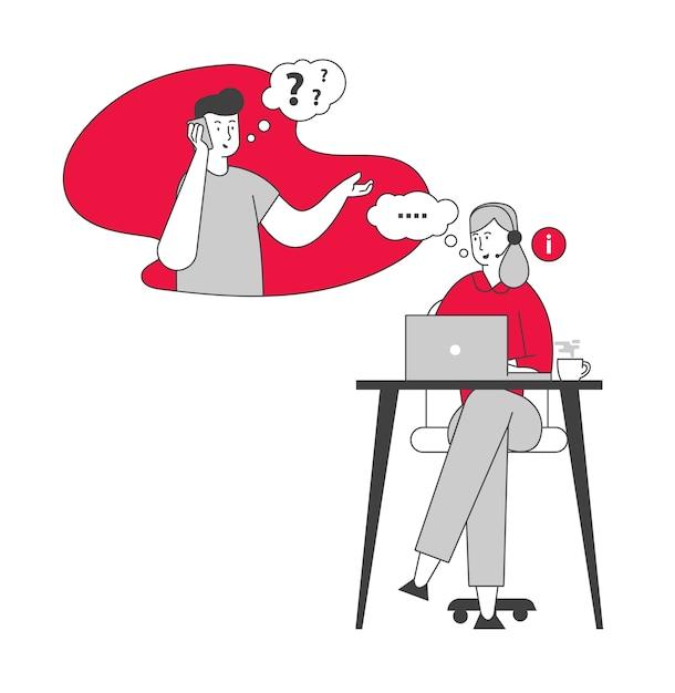 Mädchen im headset hotline berater chatten Premium Vektoren