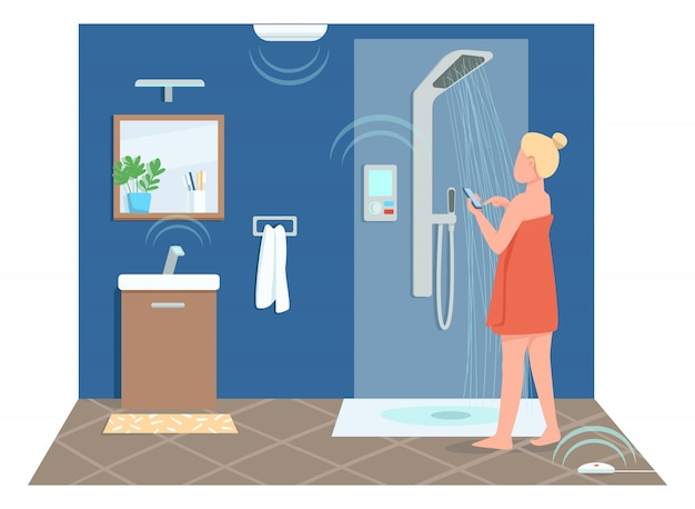 Mädchen im intelligenten badezimmer flache farbe gesichtslosen charakter. junge frau, die dusche fernsteuert. cartoon-illustration zur steuerung der technologie des internet der dinge für webgrafikdesign und -animation Premium Vektoren