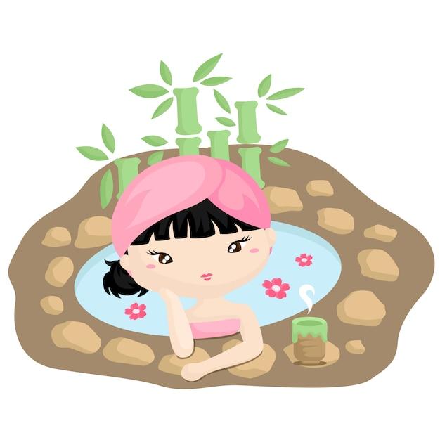 Mädchen im japanischen spa Premium Vektoren
