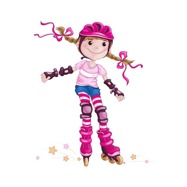 Mädchen im sturzhelm und schützendes rollerblading zubehör. Premium Vektoren