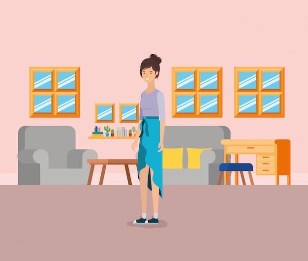 Mädchen im wohnzimmer Kostenlosen Vektoren