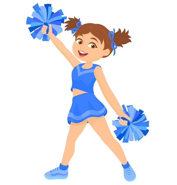 Mädchen in uniform mit pompons Premium Vektoren