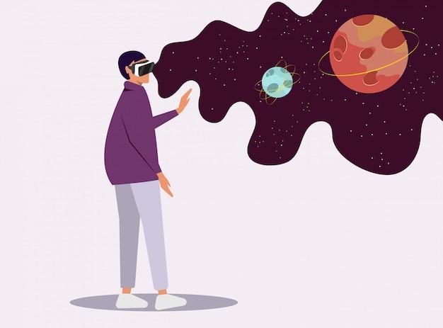 Mädchen in virtueller brille sieht raum Premium Vektoren