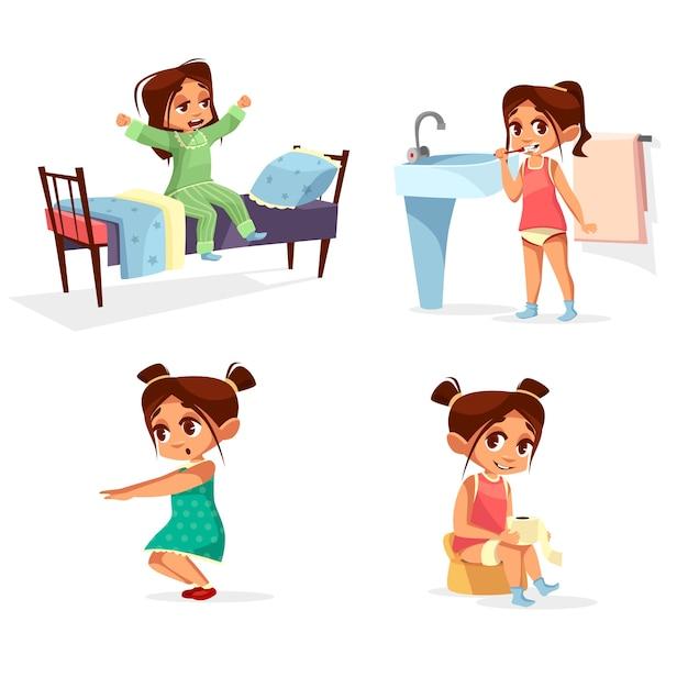 Mädchen kind morgen routine cartoon. Kostenlosen Vektoren