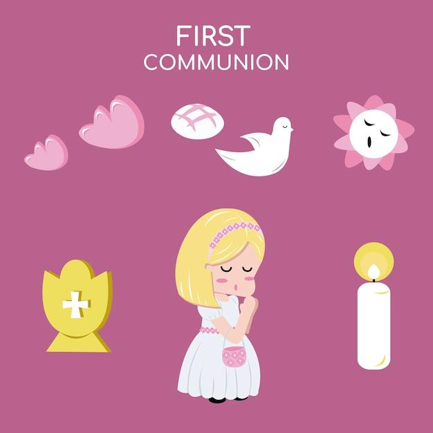 Mädchen kommunion Premium Vektoren