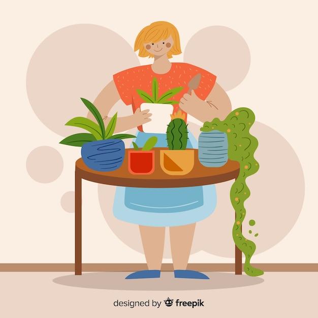 Mädchen kümmert sich um pflanzen Kostenlosen Vektoren