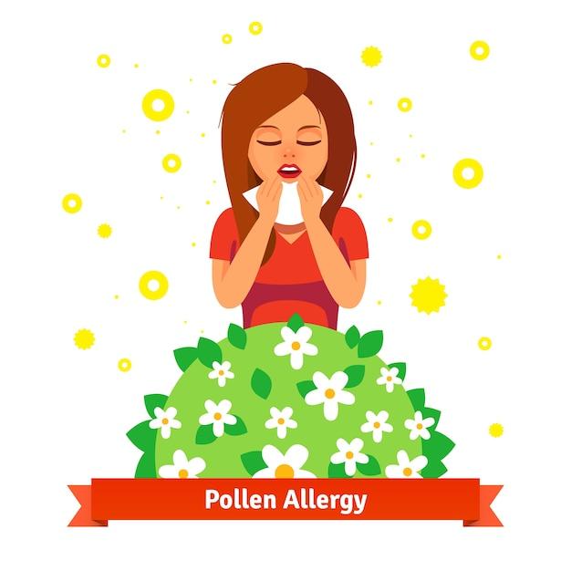 Mädchen leiden an frühling pollen allergie Kostenlosen Vektoren