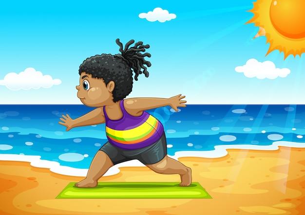 Mädchen macht yoga am strand Premium Vektoren