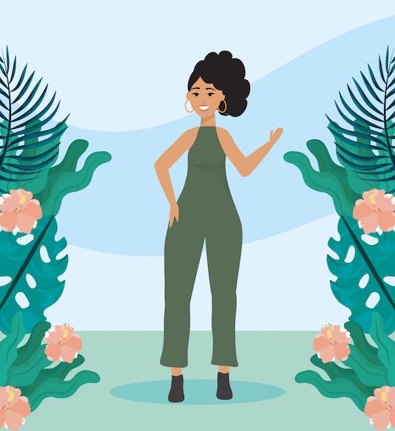 Mädchen mit einteiliger freizeitkleidung mit frisur Kostenlosen Vektoren
