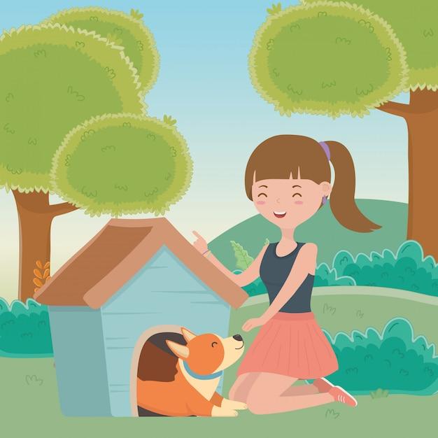 Mädchen mit hund der karikatur Kostenlosen Vektoren