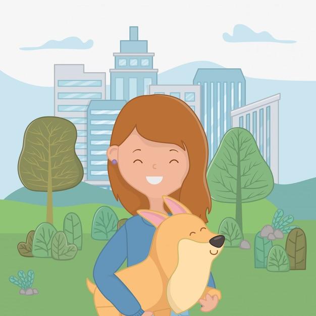 Mädchen mit hundekarikaturdesign Kostenlosen Vektoren