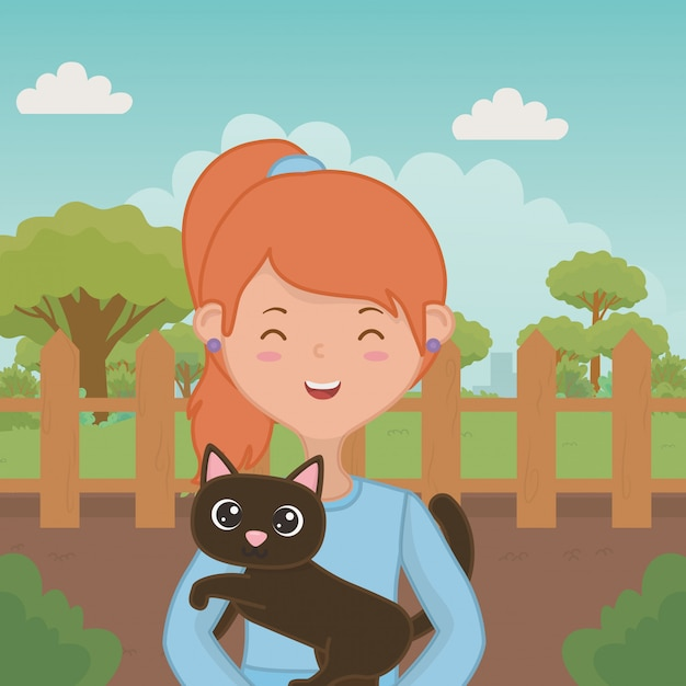 Mädchen mit katzenkarikaturdesign Kostenlosen Vektoren