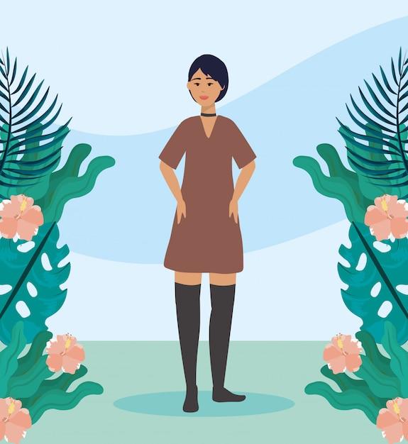 Mädchen mit kleid, freizeitkleidung und frisur Kostenlosen Vektoren
